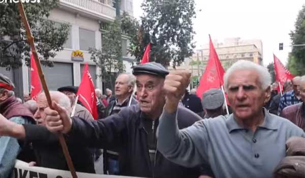 Μαζική πορεία συνταξιούχων στην Αθήνα. Βίντεο