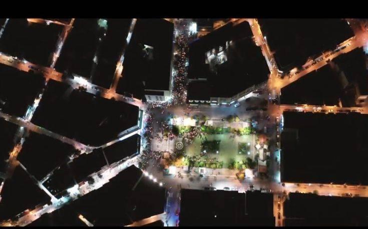 Εντυπωσιακό βίντεο από drone με τη συνάντηση των Επιταφίων στη Λαμία