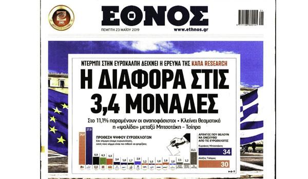 Ευρωεκλογές 2019, Δημοσκοπήσεις, 120 δόσεις, Έγκλημα, Πρωτοσέλιδα Πέμπτη 23 Μαΐου
