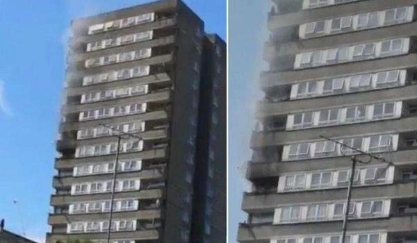 Φωτιά  σε κτίριο κοντά στον Πύργο Γκρένφελ, στο Λονδίνο