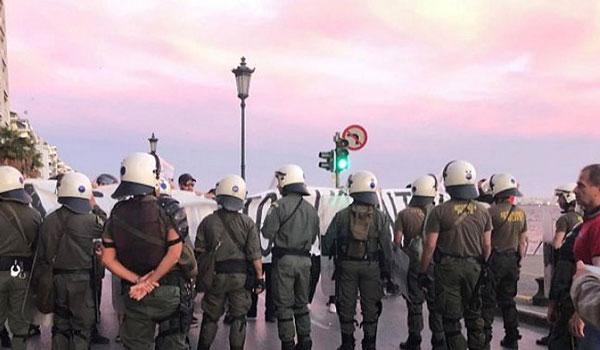 Διαμαρτυρία για τον Κουφοντίνα έξω από τον χώρο ομιλίας του Τσίπρα
