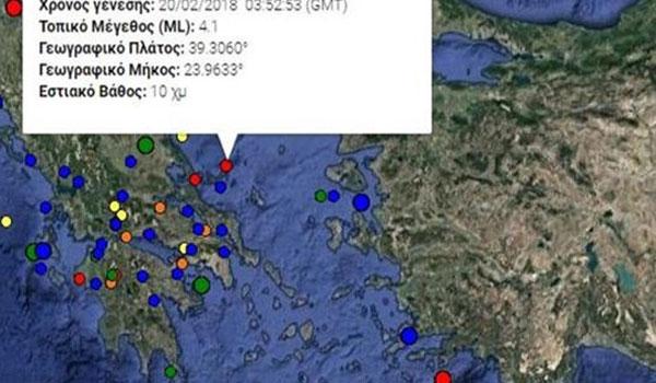 Σεισμός 4,1 Ρίχτερ στην Αλόννησο. Αισθητός ως την Αθήνα