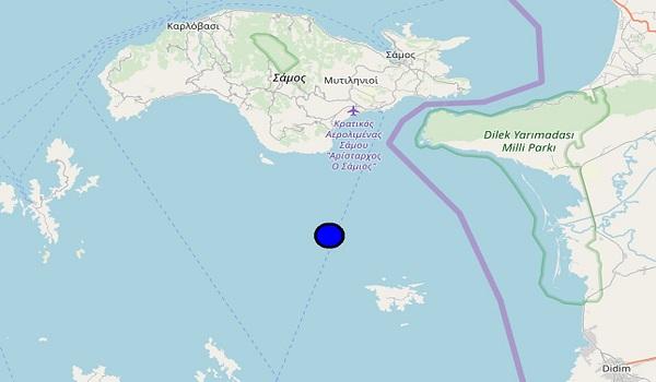 Σεισμός 4,3 στη θαλάσσια περιοχή νότια της Σάμου