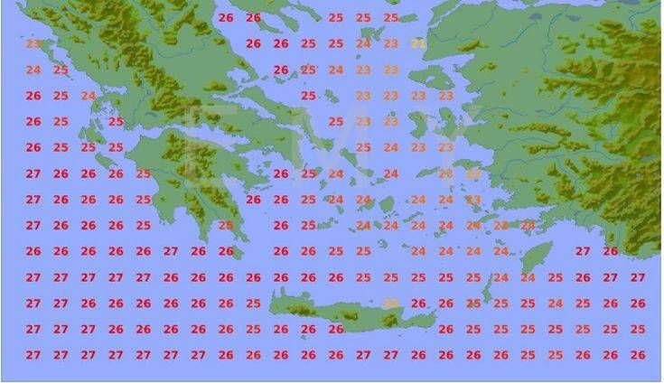 Η θερμοκρασία της θάλασσας σε κάθε περιοχή. Πρόγνωση καιρού έως 25 Ιουλίου