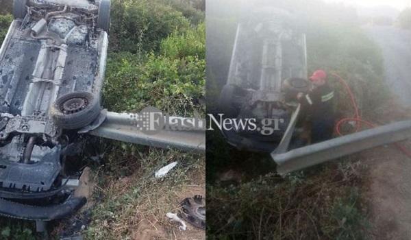 Τρομακτικό τροχαίο ατύχημα στα Χανιά – Αυτοκίνητο καρφώθηκε πάνω σε μπάρα